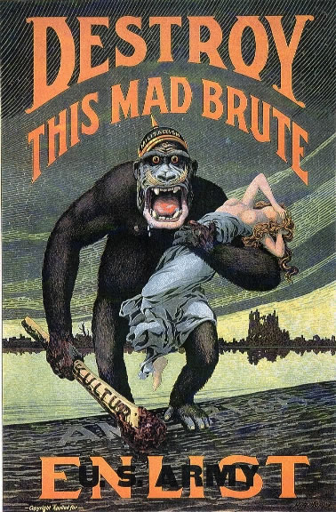 Destroy This Mad Brute—Enlist (1917) by H.R. Hopps was an American Recruitment poster.
